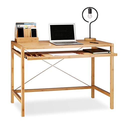 Relaxdays Computertisch Holz, Tastaturauszug, Bürotisch ausziehbar, Schreibtisch massiv, HxBxT: 76,5x106,5x55,5cm, natur