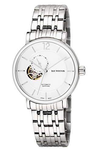 Ray Winton Herren wi0610Automatische Analog Skelett weiß Zifferblatt Silber Edelstahl Armband Armbanduhr
