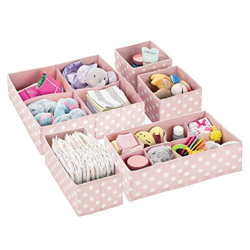 mDesign Set da 5 Scatole portaoggetti e porta giochi con diversi scomparti – Scatole per armadi ideali per organizzare gli accessori nelle camerette per bambini – rosa chiaro e bianco
