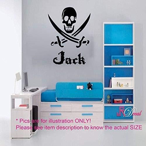 Piraten-Schädel-Schwert personalisierte Namen entfernbare Wandaufkleber Kunst Aufkleber Vinyl Kinderzimmer Dekor Wandbild
