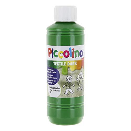 Piccolino Textilfarbe für dunkle Stoffe, Brillant-Grün 250ml - Stoffmalfarbe hochdeckend