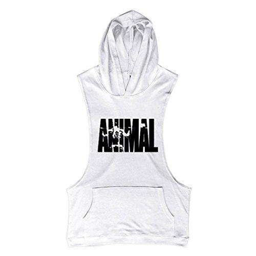 Herren Stringer Fitness Gym Shirt Herren Tank Top Animal T-Shirt mit Kapuze Weste Muscleshirt Print Sport Vest (Animal Fitness)