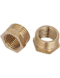 Tradico® 3/8BSP Male X 1/4BSP Female Thread Brass Hex Bushing Pipe Fitting 2pcs