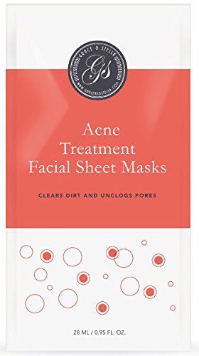 Akne Behandlung Gesichtsmasken (6Er Set) | Tuchmasken | Für Verunstalte, Texturierte Haut | Mit Salicylsäure | Anti-Pickel, Anti-Pustel, Anti-Akne | Hautbehandlung