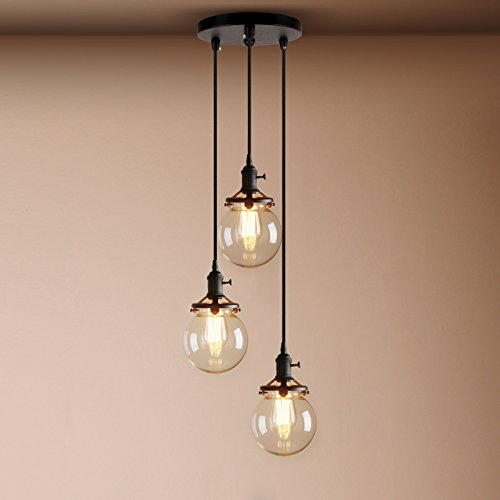 Large ceiling hanging lights amazon pathson industrial modern vintage loft bar edison ceiling pendant lights fitting cluster multi lights switch chandelier glass globe lampshade 3 lights aloadofball
