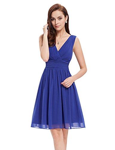 Rüschen Kleid (Ever Pretty Doppelt V-Ausschnitt Rueschen an Taille Elfenbein Kurz Damen Party Kleid 48 Saphirblau EP03989SB16)