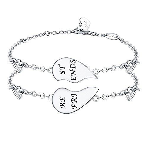 """NinaMaid """"BEST FRIENDS"""" Gravierte 925 Sterling Silber halb herzförmige inspirierende Freundschaft Armbänder Set 2"""