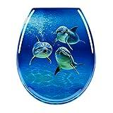 Toilettensitz WC-Sitz Luxus MDF Holz Slim Toilettensitz, leicht zu reinigen, Ersatz Scharnier, rund (Delfine)
