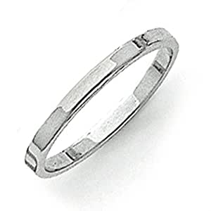 14ct White Gold 2mm Flat Band Ring - Size L 1/2