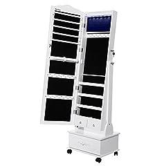 Idea Regalo - SONGMICS LED Portagioie Armadio per Gioielli con Specchio con Base a Cassettiera a Rotelle Girevoli cassetto scorrevole di grandi JBC61W