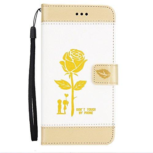 EKINHUI Case Cover Dual Color Matching Premium PU Leder Flip Stand Case Cover mit Card Cash Slots und Lanyard für Huawei Hornor 8 ( Color : Gold ) White