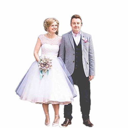 Aoturui Jahrgang 1950er Jahre Polka Gepunktet Kurz Hochzeitskleider Teelänge Kleider Strand...