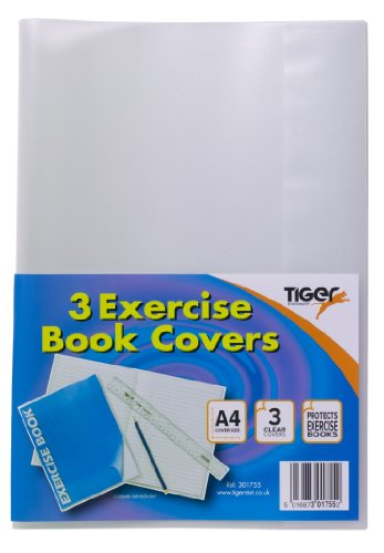 A4 Clear Strong Plastic Protective Exercise Book Slip On Cover Jackets x 3 Test