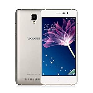 SIM Free Smartphones, DOOGEE X10 Unlocked Dual SIM Mobile Phones - 3G Android 6.0 Phone - 5.0 Inch IPS Screen - 3360mAh Large Capacity - 5MP Camera With Flash - MT6570 cortex-A7@1.3 GHz - 8GB ROM - Gold