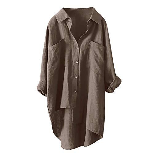 Damen Bluse Xiantime Damen T Shirt Lang Ärmel Schulterfrei Lose Lässige Asymmetrische Sweatshirt V Ausschnitt Tops Bluse Oberteil mit Knopf ()