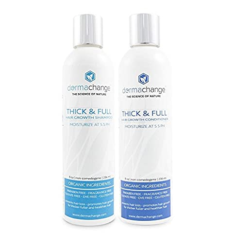 DermaChange Organic Hair Growth Organic Shampoo And Conditioner Set - Volumizing And Moisturizing - Sulfate Free - Hair Regrowth With Vitamins - Stop Hair Loss - For Woman And Men Small