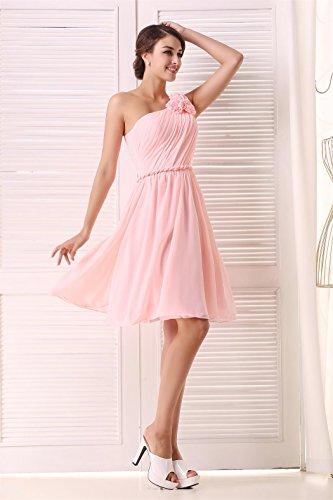 EnjoyBridal® Räumungsverkauf 40% Rabatt Damen Kurz Chiffon Ein-Schulter Abendkleid Ballkleid Festkleid Brautjungfernkleid Burgund