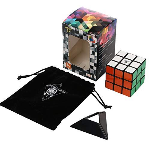 Zauberwürfel 3x3 Original Mini Set und Schlüsselanhänger Speed Cube - Magic Cube mit optimierten Dreheigenschaften für Speed-Cubing inklusive Zauberwürfel Schlüsselhänger, Schwarzer Tasche und Ständer - 3 X 3 Mini