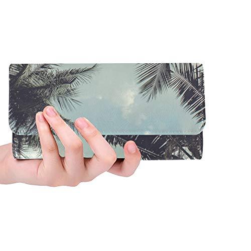 Einzigartige benutzerdefinierte Filialen Kokospalmen unter blauem Himmel Frauen Trifold Wallet Lange Geldbörse Kreditkarteninhaber Fall Handtasche