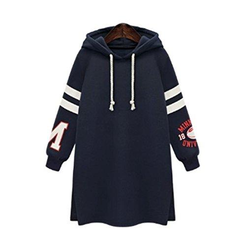 Damen Pullover Btruely Frau Hooded Sweatshirt Langarm Beiläufig Sweatshirt Tops Plus Größe (XXL, Dunkel Blau)