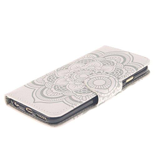 iPhone 6S Hülle, iPhone 6 Hülle, iPhone 6 / 6S PU Leder Relief Hülle Tasche Handyhülle, iPhone 6 / 6S Ledertasche im Bookstyle Brieftasche Flip Case mit Silikon Backcase, SainCat Premium Design Luxus  Weiße Blume