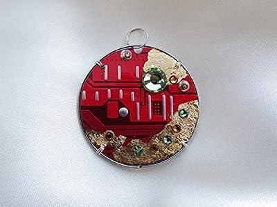 Speciimen - Bijou pour Femme en Circuit Imprimé Recyclé avec Cristal Swaroski - Pendentif Rouge Rond et Réversible - Exemplaire Unique Fait Main