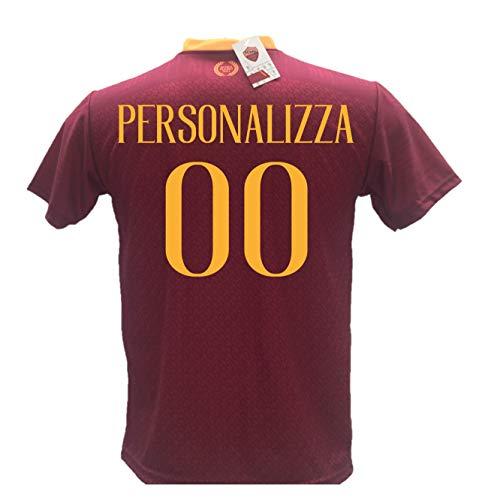 Maglia calcio roma personalizzabile replica autorizzata 2018-2019 taglie da bambino e adulto. personalizza con il tuo nome o del tuo giocatore preferito. (12 anni)