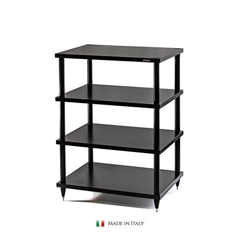 HiFi Rack Solidsteel S2-4 Möbel Schwarz Holz 4 Böden, HiFi Regal, HiFi Tisch, Hergestellt in Italien -