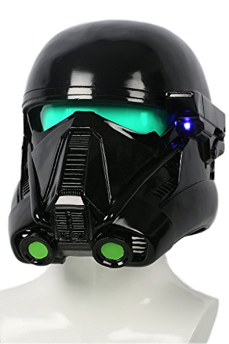 Darth Vader Replik Kostüm - Halloween Death Trooper Helm Cosplay Kostüm Schwarz Vollen Kopf Weichem Harz Maske Replik mit LED Erwachsenen Fancy Dress Zubehör