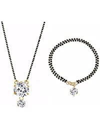 Archi Collection Jewellery Combo Of American Diamond Mangalsutra Pendant With Chain And Mangalsutra Bracelet For...