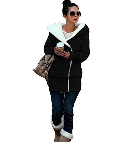 Minetom Sweatshirt Maniche Lunghe Con Cappuccio Felpa - Donna Cerniera Hoody ( Nero IT 42 ) - Superiore Cowl