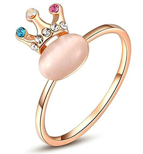 Anelli Donna Matrimonio Placcato Oro Rosa King Crown Shaped Size 17 Per Aienid