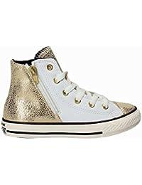 CONVERSE - Sneaker stringata bianca e dorata, in pelle, con chiusura zip laterale, logo laterale, cuciture a vista e suola in gomma, Bambina, Ragazza, Donna
