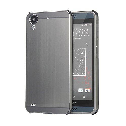 HICASER Luxus Chrom Bumper Hülle für HTC Desire 530 / 630 Case Ultra Slim Brushed Metall Aluminium + Kunststoff Handytasche Schutzhülle protective Cover Grau