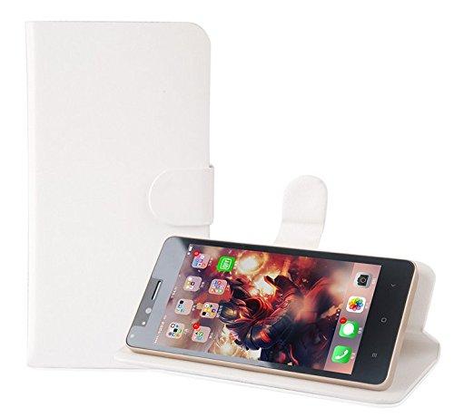 PREVOA Flip PU Housse Coque Protection Case pour Logicom L-EMENT 551 Smartphone Ecran 5,5 pouces - Blanc -