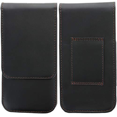 XiRRiX Leder Handy Gürteltasche für Smartphone Tasche passend für Motorola Moto G7 Power/One Vision/Samsung Galaxy A7 2018 / A70 - schwarz