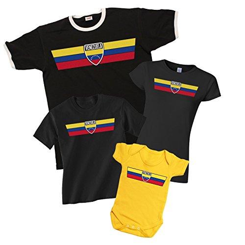 VENEZUELA Patriotic Retro Strip T-Shirt *Scegliere Tra Mens Donne Bambini e Neonati* Nero (Kids)