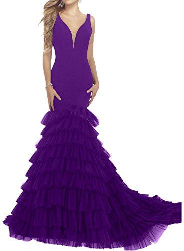 Milano Bride Schwarz elegant Traeger Meerjungefrau tief V-ausschnitt Damen Abendkleider Cocktailkleider Partykleider Gestuft Schleppe Neu Regency