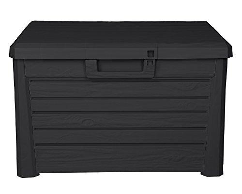 Ondis24 Kissenbox Florida Holz Optik Sitztruhe Auflagenbox Poolbox 120 Liter XL mit Gasdruckfedern...