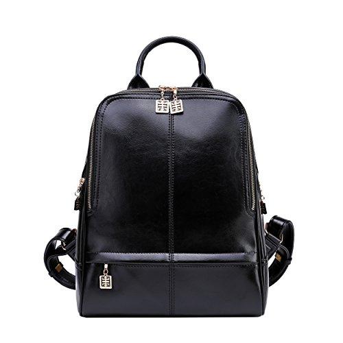 BOYATU Designer Leder Rucksäcke Mehrzweck Reisetaschen Damen Schulterpaket (Schwarz) (Tasche Sling Sattel)