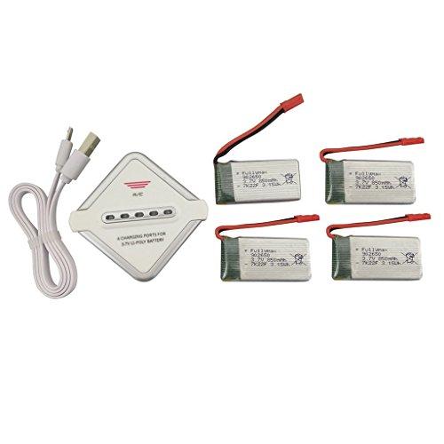 Fytoo 4PCS 3.7V 850mAh Lipo Batería y 4 en 1 Cargador para SYMA X56 X56W X54HC RC Quadcopter Drone Batería de Repuesto