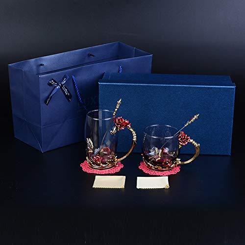 Emaille Colored Wasser-Tasse Glas Kristall-Geschenk-Tasse Tee-blumenwippe Hochzeit Geschenk Rote Rose Doppelschlag Becher Rote Rose Becher