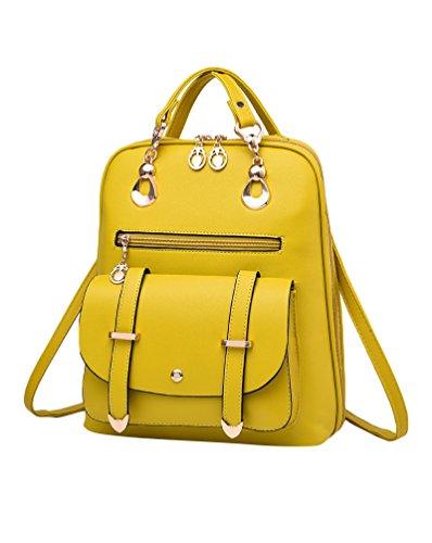 CHENGYANG Mädchen Classic Schultertasche Rucksack Für Outdoor Elegent Multifunktionales Handtaschen Gelb