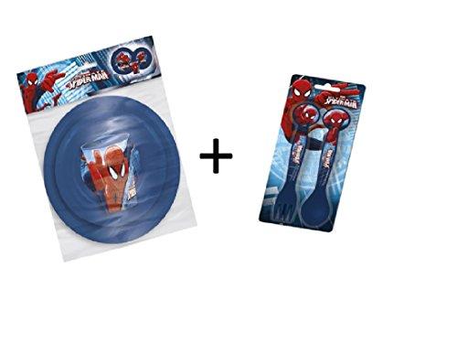 Spiderman Set 5 Pieces Couverts, Assiette, Bol & Verre