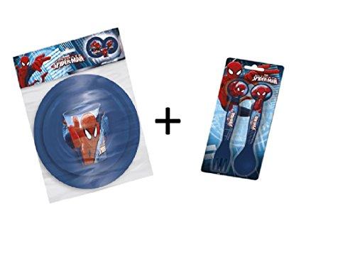 Spiderman Set 5 Pieces Couverts, Assiette, Bol & Verre