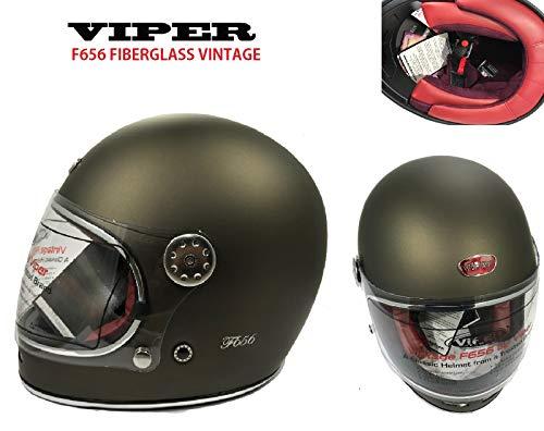 Nuovi Vintage Stile CASCHI Moto - Viper F656 Casco in Fibra di Vetro Casco Moto Integrale Touring Sportivi ECE Approvato Classic Bobber Casco Retro Classic Chopper (Rusty Classic,L)