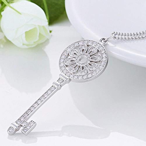 WnnYa Schlüsselanhänger Aus 925Er Sterlingsilber Mit Sonnenblume Und Diamanthalsketten-Pulloverkette -