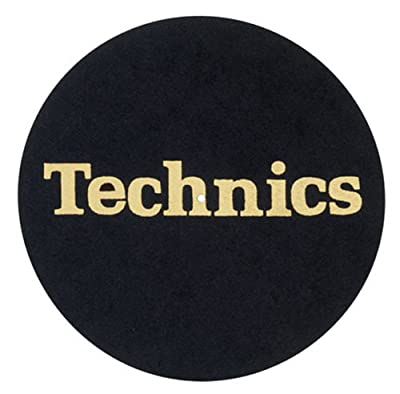 2 x Technics Slipmats Black with Gold Logo
