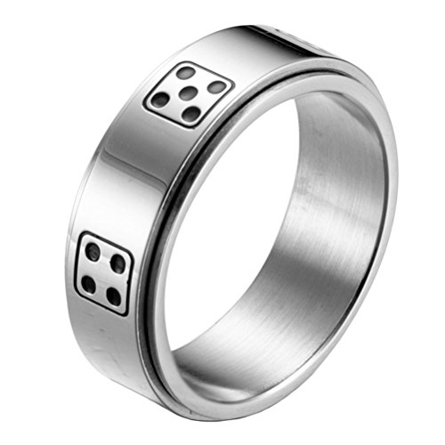 HIJONES Herren Edelstahl Glück Drehbar Würfel Ring Band 8MM Silber Größe 68