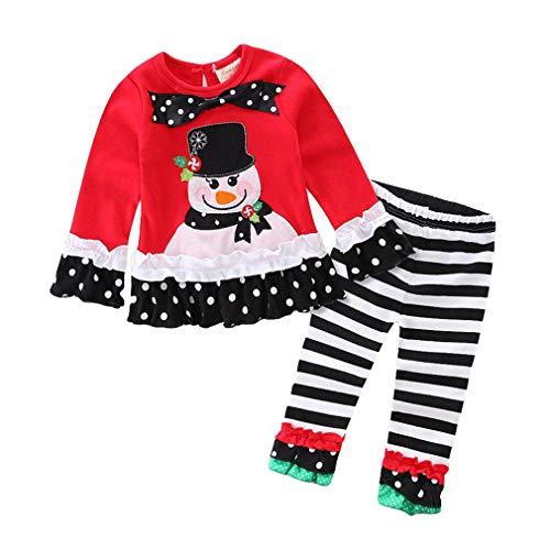 Mädchen Kinder Baumwolle Weihnachts kleidung Set Kleinkind Schwarzer Hut Schneemann Lange Ärmel Top+Hosen Halloween Outfits/0-1Y